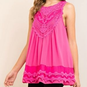 NEW Hot Pink Top with Crochet Detail